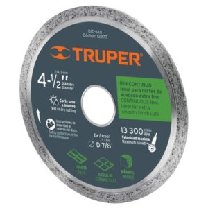 "Disco de Corte Diamantado Continuo 4 1/2"" Truper DID145"